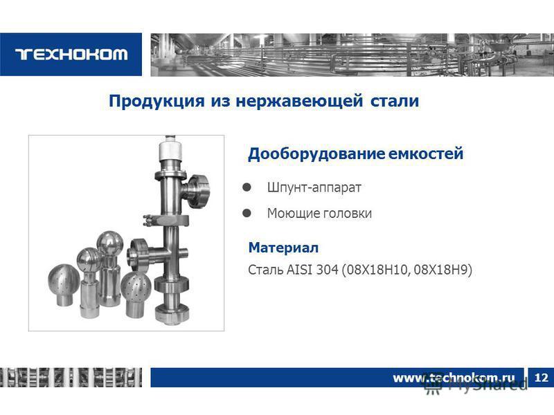 12 www.technokom.ru Дооборудование емкостей Продукция из нержавеющей стали Сталь AISI 304 (08Х18Н10, 08Х18Н9) Материал Моющие головки Шпунт-аппарат