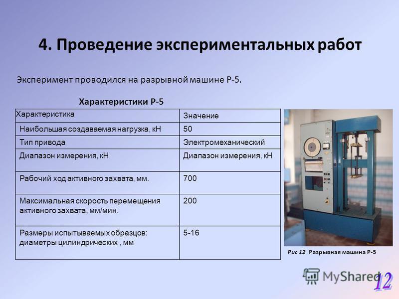 4. Проведение экспериментальных работ Эксперимент проводился на разрывной машине Р-5. Характеристики Р-5 Рис 12 Разрывная машина Р-5