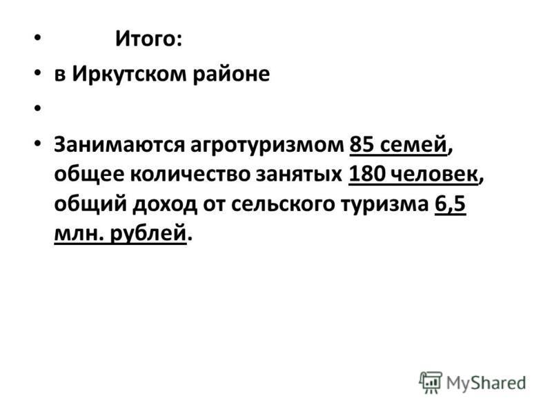 Итого: в Иркутском районе Занимаются агротуризмом 85 семей, общее количество занятых 180 человек, общий доход от сельского туризма 6,5 млн. рублей.