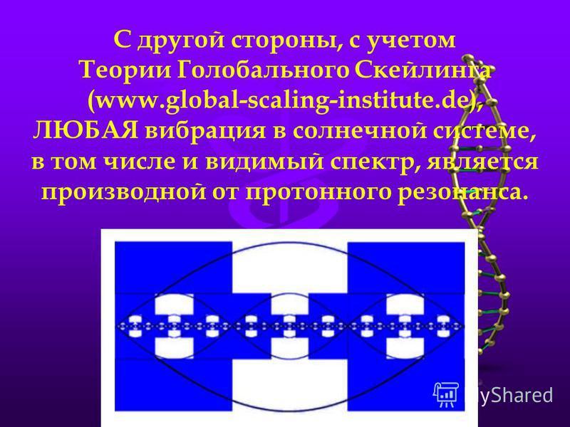 С другой стороны, с учетом Теории Голобального Скейлинга (www.global-scaling-institute.de), ЛЮБАЯ вибрация в солнечной системе, в том числе и видимый спектр, является производной от протонного резонанса.