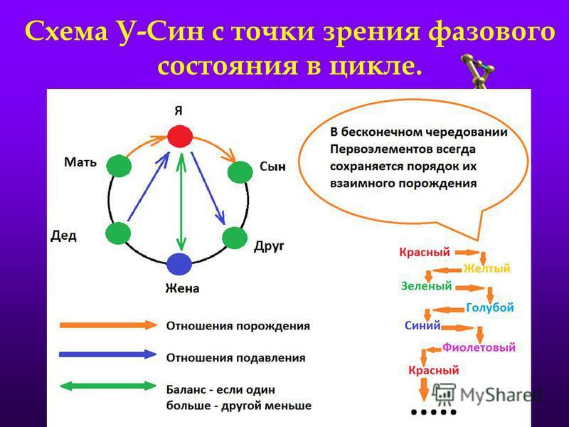 Схема У-Син с точки зрения фазового состояния в цикле.