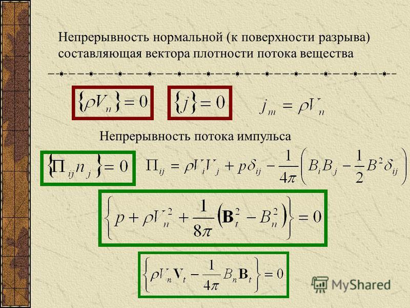 Непрерывность нормальной (к поверхности разрыва) составляющая вектора плотности потока вещества Непрерывность потока импульса