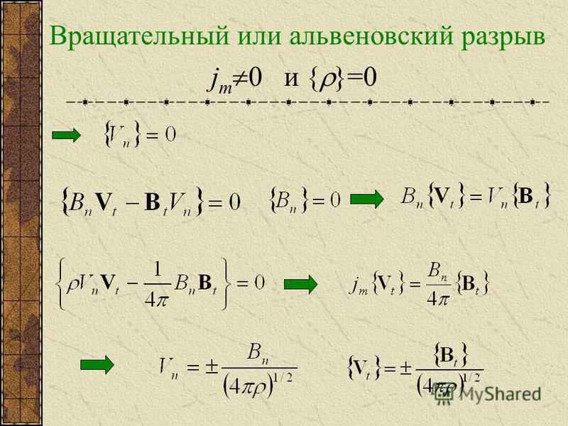 Вращательный или альфвеновский разрыв j m 0 и { }=0