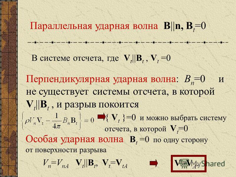Параллельная ударная волна B n, B t =0 В системе отсчета, где V t B t, V t =0 Перпендикулярная ударная волна: B n =0 и не существует системы отсчета, в которой V t B t, и разрыв покоится { V t }=0 и можно выбрать систему отсчета, в которой V t =0 Осо