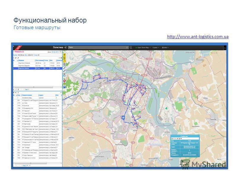 Функциональный набор Готовые маршруты http://www.ant-logistics.com.ua