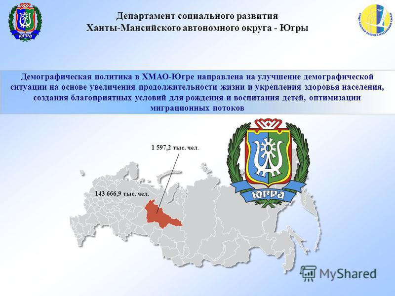 Департамент социального развития Ханты-Мансийского автономного округа - Югры Демографическая политика в ХМАО-Югре направлена на улучшение демографической ситуации на основе увеличения продолжительности жизни и укрепления здоровья населения, создания