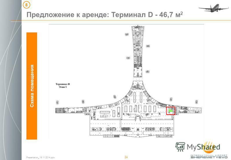 Presentation_ 19 11 2014. pptx 24 Схема помещения Предложение к аренде: Терминал D - 46,7 м 2 8