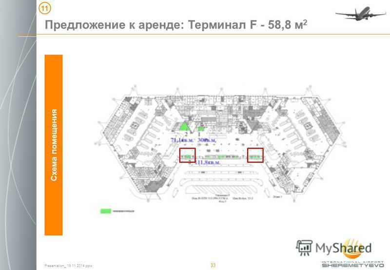 Presentation_ 19 11 2014. pptx 33 Предложение к аренде: Терминал F - 58,8 м 2 Схема помещения 11