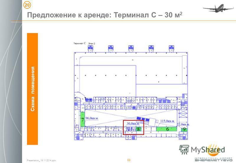Presentation_ 19 11 2014. pptx 60 Схема помещения Предложение к аренде: Терминал С – 30 м 2 20