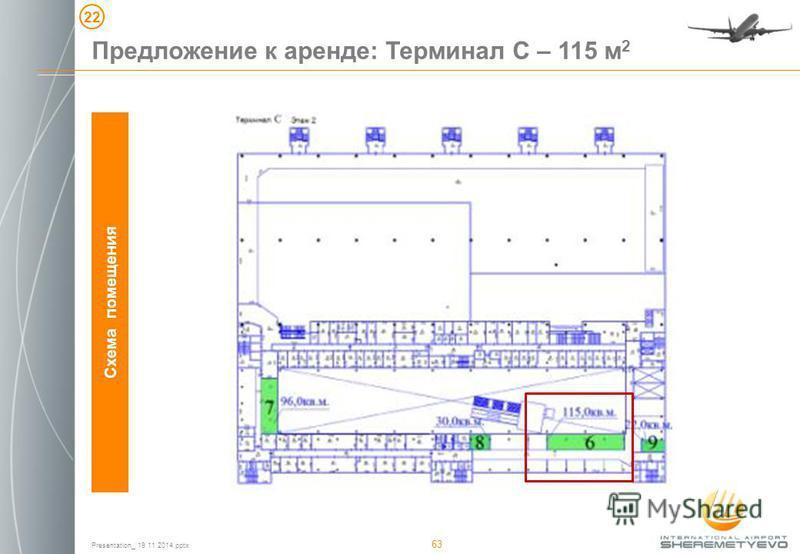 Presentation_ 19 11 2014. pptx 63 Схема помещения Предложение к аренде: Терминал С – 115 м 2 22