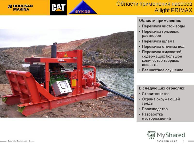 3 Caterpillar Confidential: Green CAT GLOBAL MINING Области применения насосов Allight PRIMAX