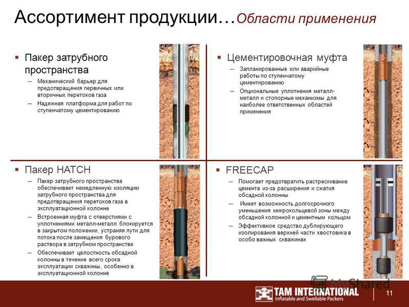 11 Ассортимент продукции… Области применения Пакер затрубного пространства Механический барьер для предотвращения первичных или вторичных перетоков газа Надежная платформа для работ по ступенчатому цементированию Цементировочная муфта Запланированные