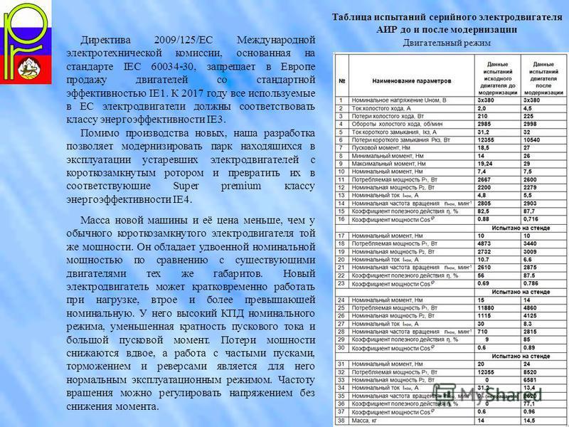 Таблица испытаний серийного электродвигателя АИР до и после модернизации Двигательный режим Директива 2009/125/EC Международной электротехнической комиссии, основанная на стандарте IEС 60034-30, запрещает в Европе продажу двигателей со стандартной эф