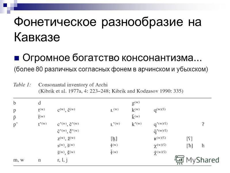 Фонетическое разнообразие на Кавказе Огромное богатство консонантизма... (более 80 различных согласных фонем в арчинском и убыхском)