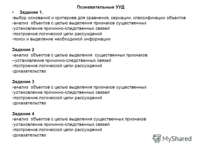 Познавательные УУД Задание 1. -выбор оснований и критериев для сравнения, сериации, классификации объектов -анализ объектов с целью выделения признаков существенных -установление причинно-следственных связей -построение логической цепи рассуждений -п