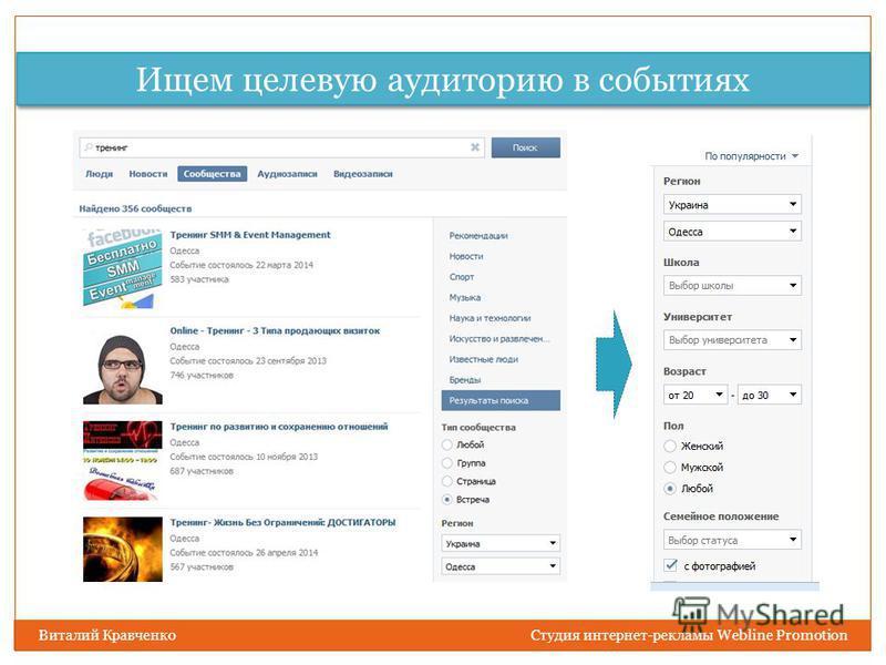 Ищем целевую аудиторию в событиях Виталий Кравченко Студия интернет-рекламы Webline Promotion