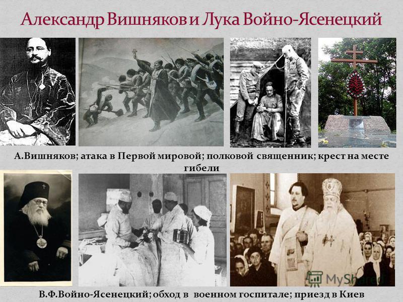 А.Вишняков; атака в Первой мировой; полковой священник; крест на месте гибели В.Ф.Войно-Ясенецкий; обход в военном госпитале; приезд в Киев