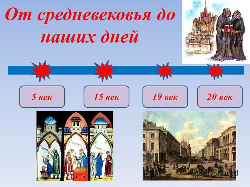 От средневековья до наших дней 5 век 19 век 15 век 20 век