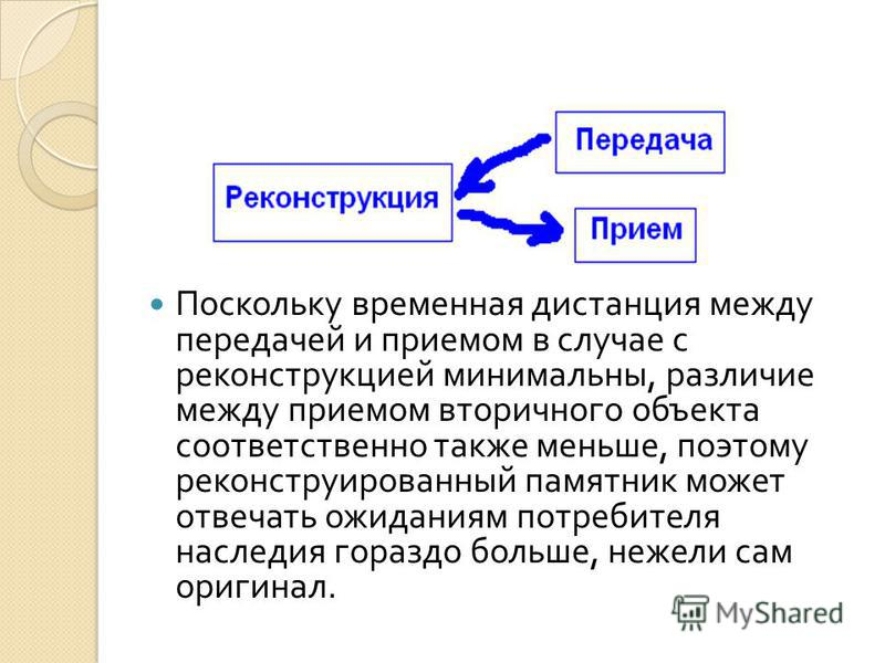 Поскольку временная дистанция между передачей и приемом в случае с реконструкцией минимальны, различие между приемом вторичного объекта соответственно также меньше, поэтому реконструированный памятник может отвечать ожиданиям потребителя наследия гор