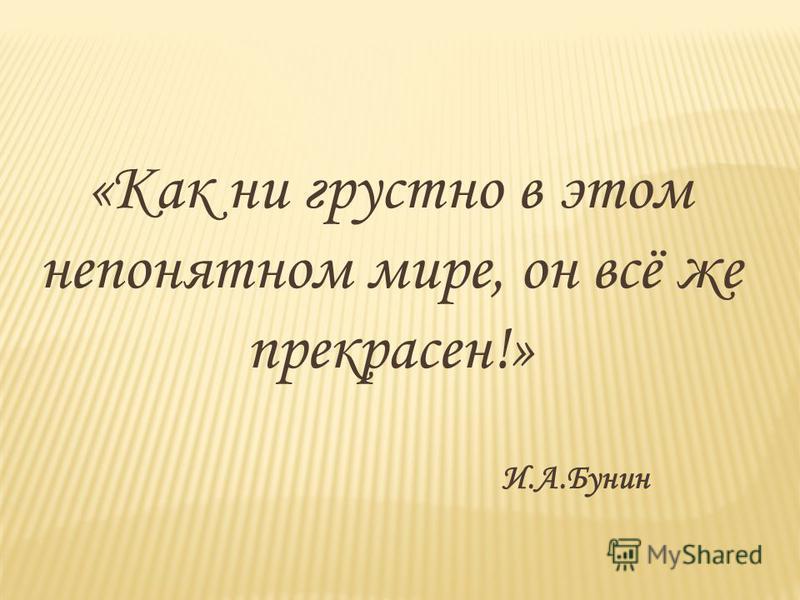 «Как ни грустно в этом непонятном мире, он всё же прекрасен!» И.А.Бунин