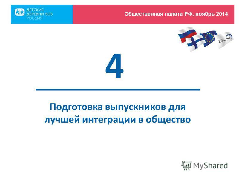 Подготовка выпускников для лучшей интеграции в общество 4 Общественная палата РФ, ноябрь 2014
