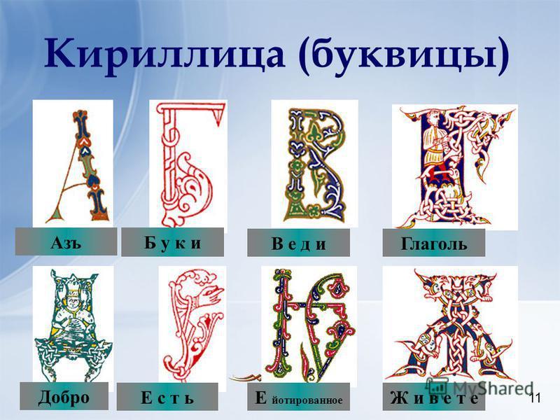 11 Кириллица (буквицы) 11 Б у к иВ е д и Глаголь Е с т ьЕ йотированное Ж и в е т е Б у к и Азъ Добро