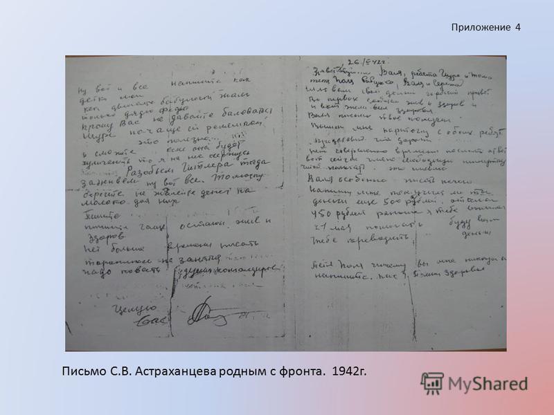 Приложение 4 Письмо С.В. Астраханцева родным с фронта. 1942 г.