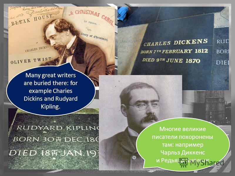 Many great writers are buried there: for example Charies Dickins and Rudyard Kipling. Многие великие писатели похоронены там: например Чарльз Диккенс и Редьярд Киплинг. Многие великие писатели похоронены там: например Чарльз Диккенс и Редьярд Киплинг