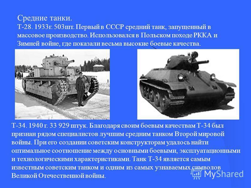 Средние танки. Т-28. 1933 г. 503 шт. Первый в СССР средний танк, запущенный в массовое производство. Использовался в Польском походе РККА и Зимней войне, где показали весьма высокие боевые качества. Т-34. 1940 г. 33 929 штук. Благодаря своим боевым к