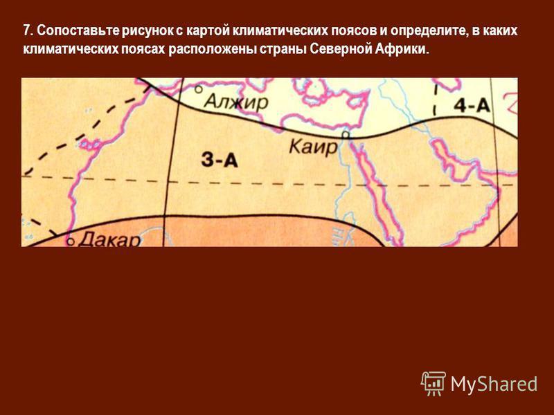 7. Сопоставьте рисунок с картой климатических поясов и определите, в каких климатических поясах расположены страны Северной Африки.