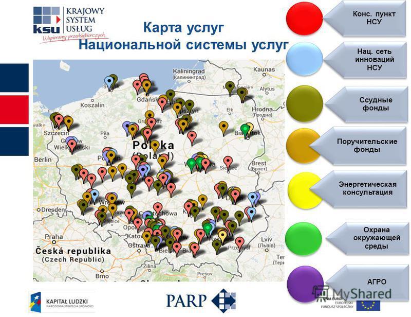 Карта услуг Национальной системы услуг Конс. пункт НСУ Нац. сеть инноваций НСУ Ссудные фонды Поручительские фонды Энергетическая консультация Охрана окружающей среды АГРО