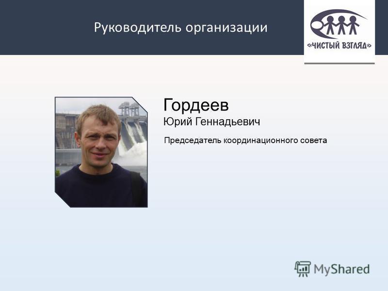 Руководитель организации Гордеев Юрий Геннадьевич Председатель координационного совета