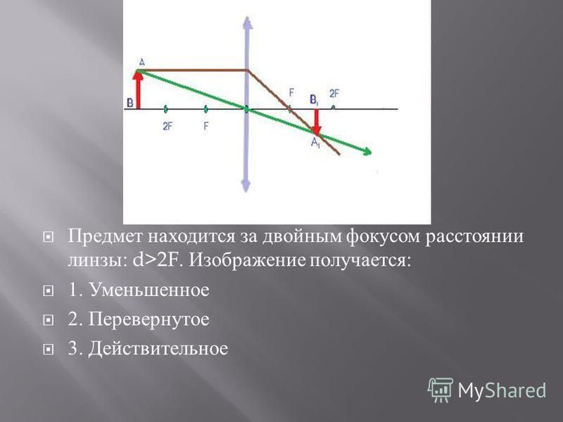 Предмет находится за двойным фокусом расстоянии линзы : d>2F. Изображение получается : 1. Уменьшенное 2. Перевернутое 3. Действительное