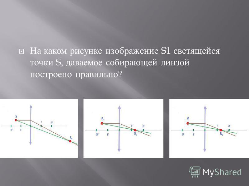 На каком рисунке изображение S1 светящейся точки S, даваемое собирающей линзой построено правильно ?