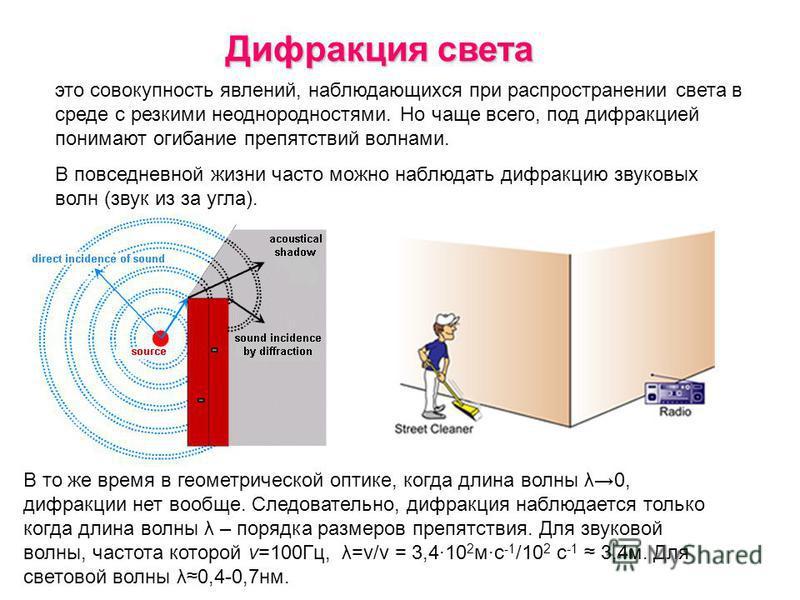 Дифракция света это совокупность явлений, наблюдающихся при распространении света в среде с резкими неоднородностями. Но чаще всего, под дифракцией понимают огибание препятствий волнами. В повседневной жизни часто можно наблюдать дифракцию звуковых в
