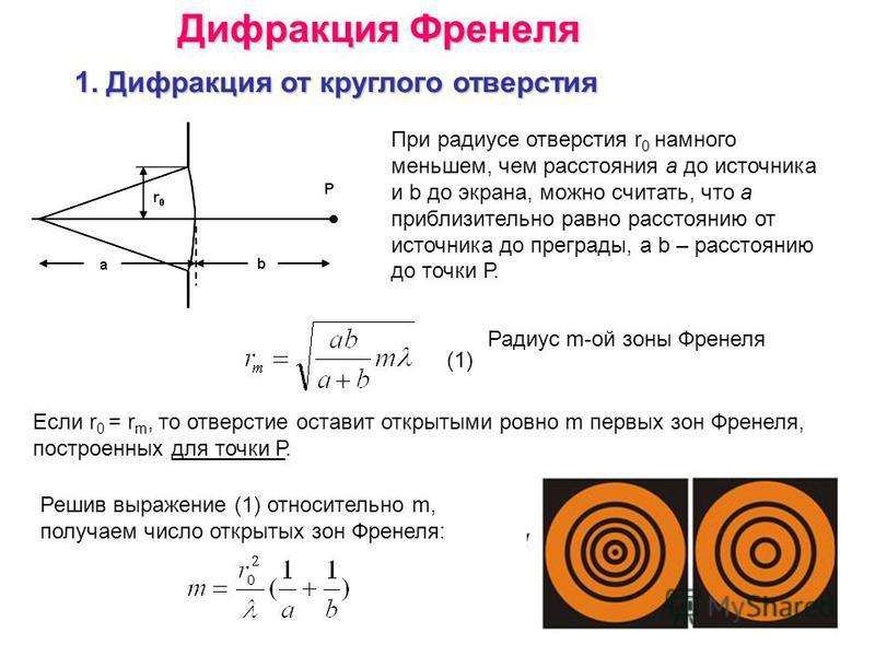Дифракция Френеля 1. Дифракция от круглого отверстия При радиусе отверстия r 0 намного меньшем, чем расстояния а до источника и b до экрана, можно считать, что а приблизительно равно расстоянию от источника до преграды, а b – расстоянию до точки Р. Р