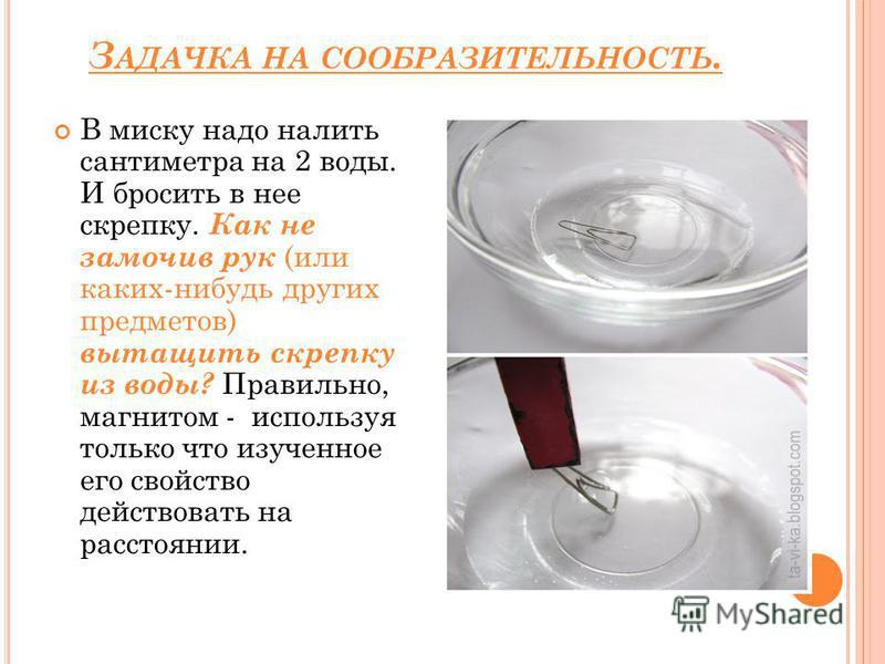 З АДАЧКА НА СООБРАЗИТЕЛЬНОСТЬ. В миску надо налить сантиметра на 2 воды. И бросить в нее скрепку. Как не замочив рук (или каких-нибудь других предметов) вытащить скрепку из воды? Правильно, магнитом - используя только что изученное его свойство дейст