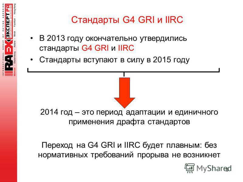 В 2013 году окончательно утвердились стандарты G4 GRI и IIRC Стандарты вступают в силу в 2015 году 2014 год – это период адаптации и единичного применения драфта стандартов Переход на G4 GRI и IIRC будет плавным: без нормативных требований прорыва не