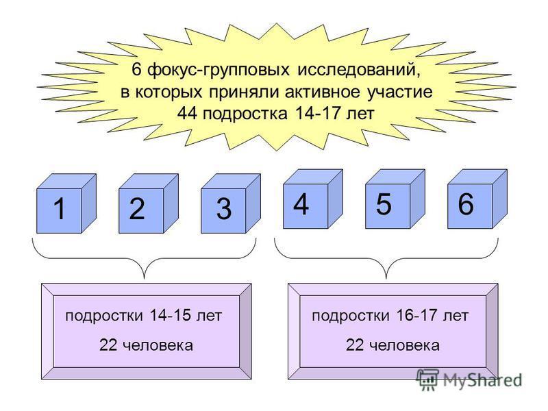 подростки 14-15 лет 22 человека подростки 16-17 лет 22 человека 6 фокус-групповых исследований, в которых приняли активное участие 44 подростка 14-17 лет 1 654 32