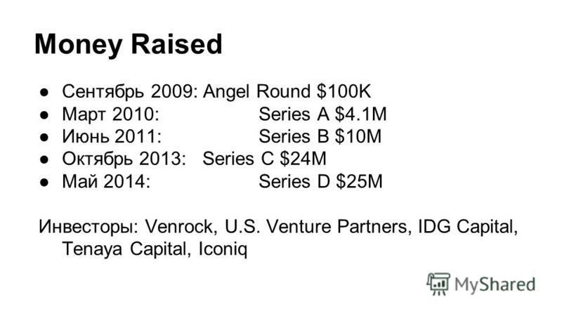 Money Raised Сентябрь 2009: Angel Round $100K Март 2010: Series A $4.1M Июнь 2011: Series B $10M Октябрь 2013: Series C $24M Май 2014: Series D $25M Инвесторы: Venrock, U.S. Venture Partners, IDG Capital, Tenaya Capital, Iconiq