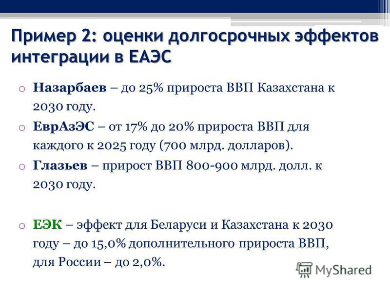 Пример 2: оценки долгосрочных эффектов интеграции в ЕАЭС o Назарбаев – до 25% прироста ВВП Казахстана к 2030 году. o Евр АзЭС – от 17% до 20% прироста ВВП для каждого к 2025 году (700 млрд. долларов). o Глазьев – прирост ВВП 800-900 млрд. долл. к 203