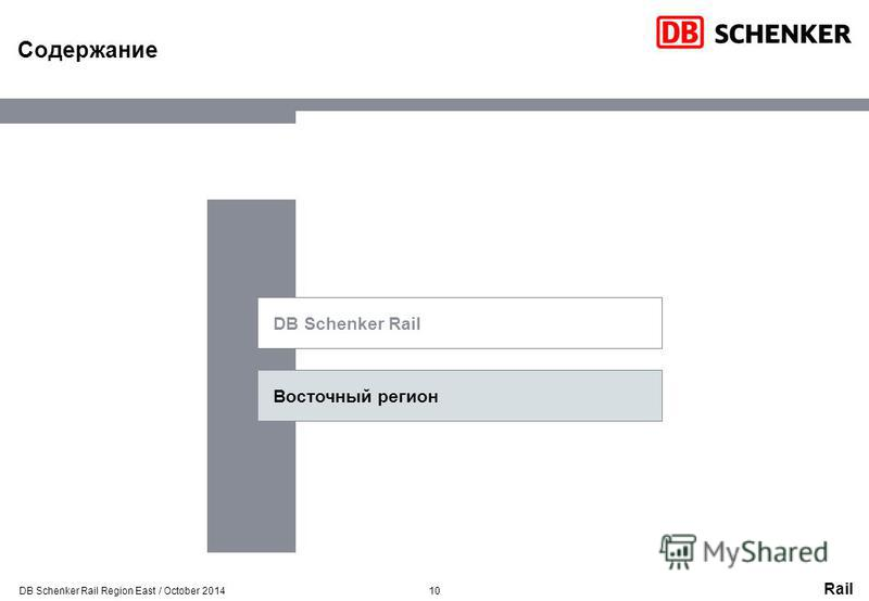 Rail Содержание DB Schenker Rail Восточный регион 10DB Schenker Rail Region East / October 2014