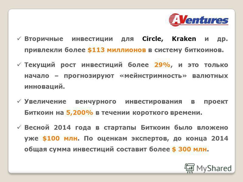 Вторичные инвестиции для Circle, Kraken и др. привлекли более $113 миллионов в систему биткоинов. Текущий рост инвестиций более 29%, и это только начало – прогнозируют «мейнстримность» валютных инноваций. Увеличение венчурного инвестирования в проект