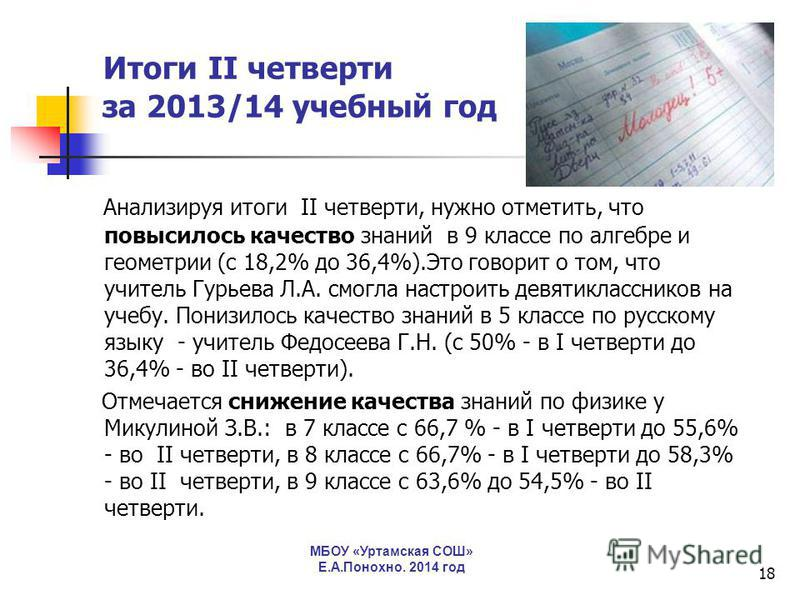 18 Итоги II четверти за 2013/14 учебный год Анализируя итоги II четверти, нужно отметить, что повысилось качество знаний в 9 классе по алгебре и геометрии (с 18,2% до 36,4%).Это говорит о том, что учитель Гурьева Л.А. смогла настроить девятикласснико