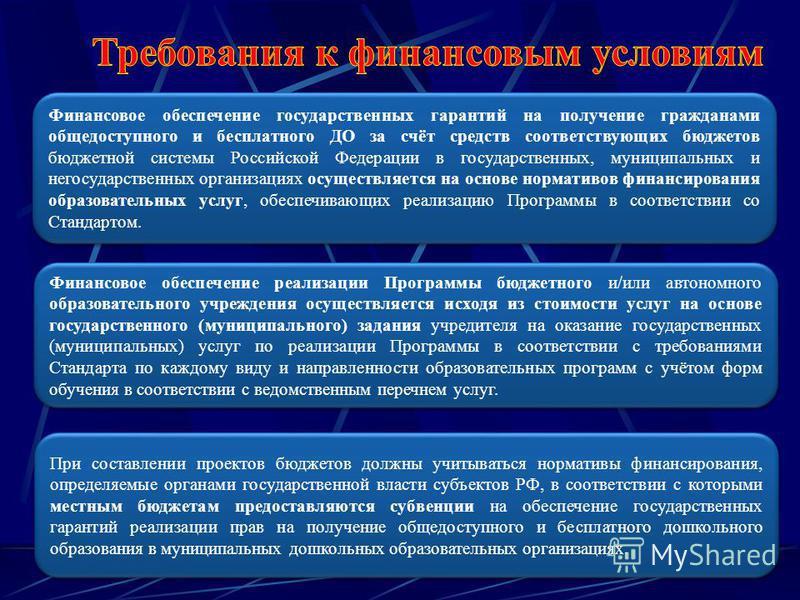 Финансовое обеспечение государственных гарантий на получение гражданами общедоступного и бесплатного ДО за счёт средств соответствующих бюджетов бюджетной системы Российской Федерации в государственных, муниципальных и негосударственных организациях