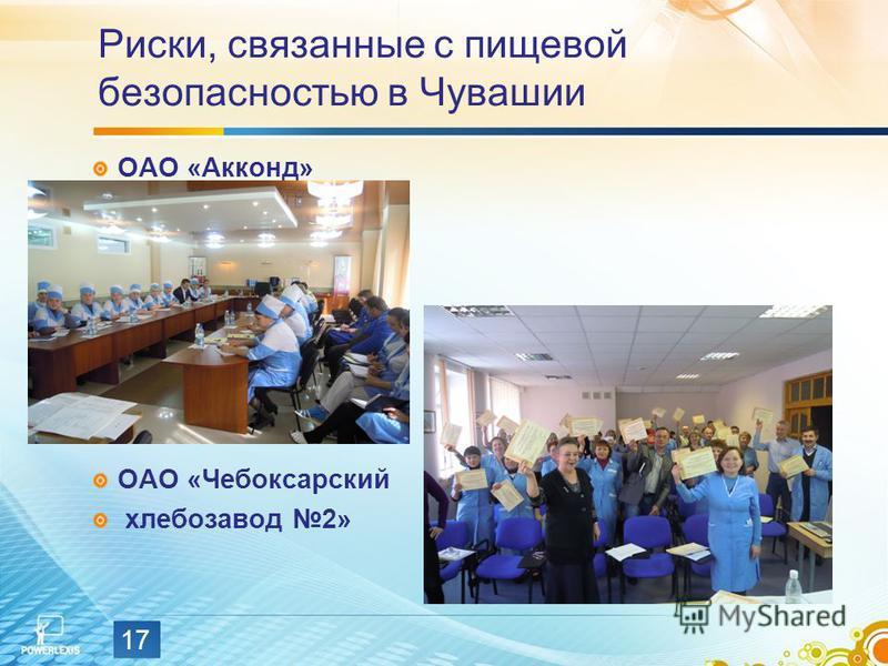 Риски, связанные с пищевой безопасностью в Чувашии ОАО «Акконд» ОАО «Чебоксарский хлебозавод 2» 17
