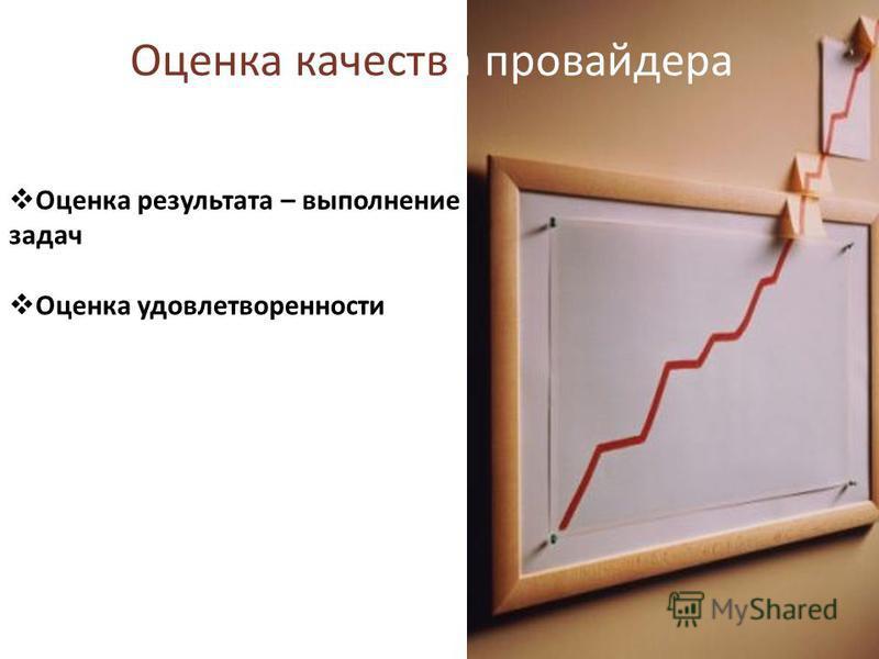 Оценка качества провайдера Оценка результата – выполнение задач Оценка удовлетворенности