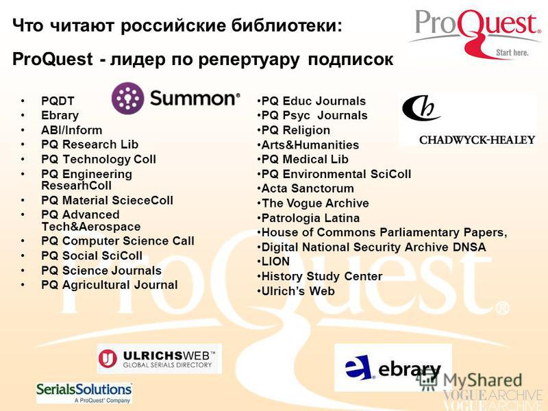 Что читают российские библиотеки: ProQuest - лидер по репертуару подписок PQDT Ebrary ABI/Inform PQ Research Lib PQ Technology Coll PQ Engineering ResearhColl PQ Material ScieceColl PQ Advanced Tech&Aerospace PQ Computer Science Call PQ Social SciCol
