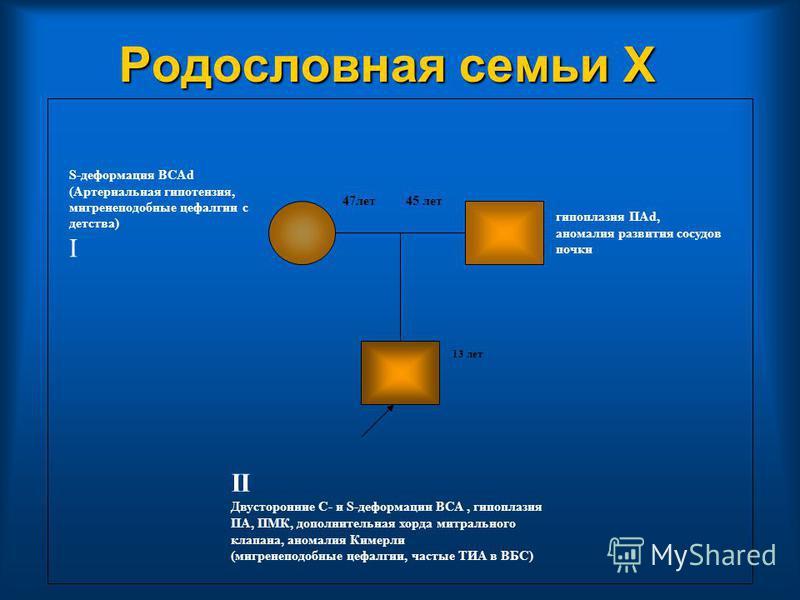 Родословная семьи Х гипоплазия ПАd, аномалия развития сосудов почки II Двусторонние С- и S-деформации ВСА, гипоплазия ПА, ПМК, дополнительная хорда митрального клапана, аномалия Кимерли (мигренеподобные цефалгии, частые ТИА в ВБС) S-деформация ВСАd (