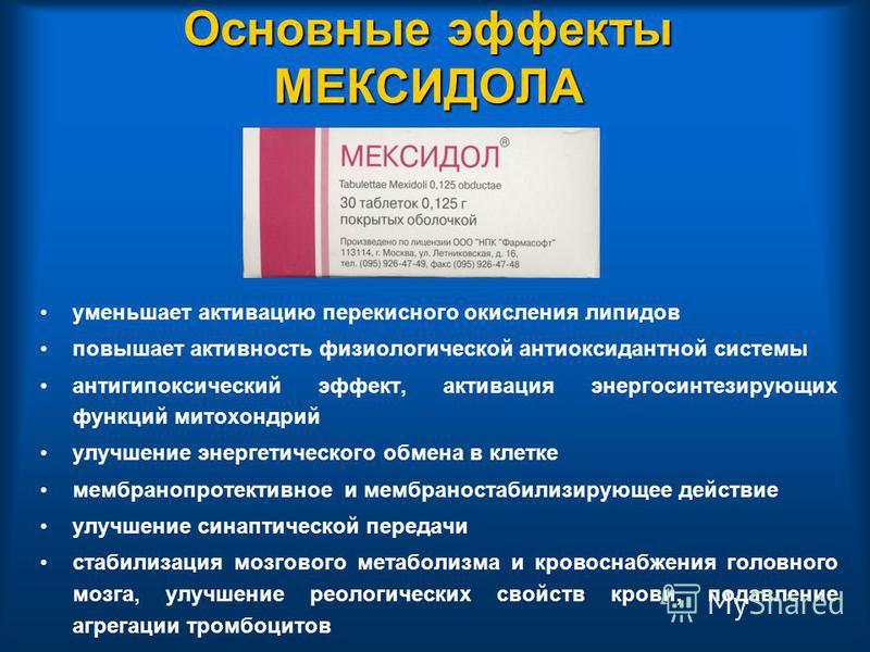 Основные эффекты МЕКСИДОЛА уменьшает активацию перекисного окисления липидов повышает активность физиологической антиоксидантной системы антигипоксический эффект, активация энергосинтезирующих функций митохондрий улучшение энергетического обмена в кл